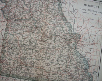 1903 State Map Missouri - Vintage Antique Map Great for Framing 100 Years Old