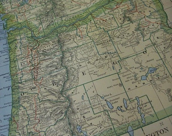 1903 State Map Oregon and Washington - Vintage Antique Map Great for Framing 100 Years Old