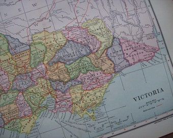1903 Map Victoria Australia - Vintage Antique Map Great for Framing 100 Years Old