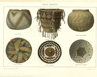 1909 Native American Indian Baskets Print - Vintage Antique Home Decor Book Plate Art Illustration for Framing 100 Years Old