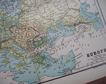 1903 Map Europe - Vintage Antique Map Great for Framing 100 Years Old