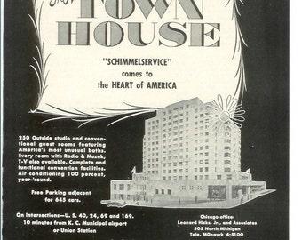 1950s Hotel Advertisement - The Town House Kansas City Kansas - Vintage Antique Retro 50s Era Pop Art Ad for Framing 50 Years Old