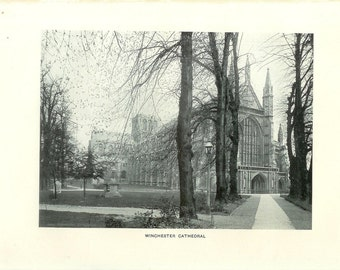 1903 Architecture Photograph - Winchester Cathedral England - Vintage Antique Art Print History Geography Great for Framing 100 Years Old