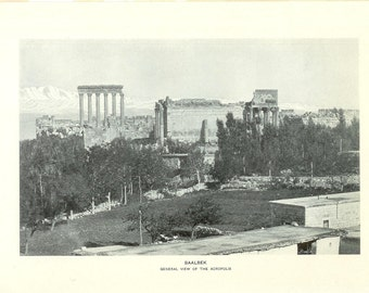 1903 Landscape Photograph - Baalbek The Acropolis Athens Greece - Vintage Antique Art Print History Great for Framing 100 Years Old