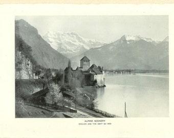 1903 Landscape Photograph - Chateau de Chillon Dents du Midi Swiss Alps - Vintage Antique Art Print 100 Years Old