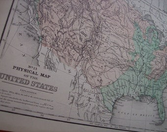 1867 Mitchell's Map - Physical Map of the United States - Vintage Antique Map Great for Framing 100 Years Old