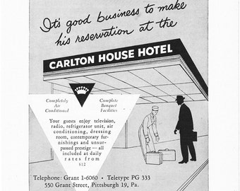 1950s Hotel Advertisement - Carlton House Hotel Pittsburgh Pennsylvania - Vintage Antique Retro 50s Era Pop Art Ad for Framing 50 Years Old