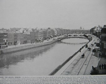 1898 Photography of Ireland - The Quays Dublin - Antique Victorian Era Fine Art for Framing 100 Years Old