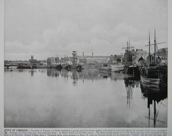 1898 Photography of Ireland - City of Limerick - Antique Victorian Era Fine Art for Framing 100 Years Old