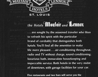 1950s Hotel Advertisement - Mayfair and Lennox Hotels St. Louis Missouri - Vintage Antique Retro 50s Era Pop Art Ad for Framing 50 Years Old