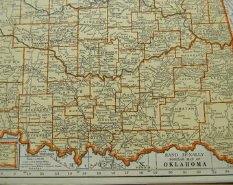 1937 State Map Oklahoma - Vintage Antique Map Great for Framing