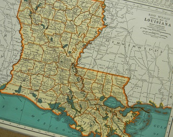 1940 State Map Louisiana - Vintage Antique Map Great for Framing