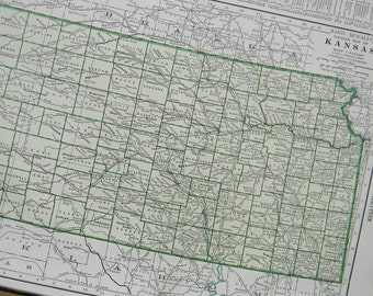 1947 State Map Kansas - Vintage Antique Map Great for Framing