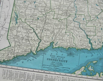 1945 State Map Connecticut - Vintage Antique Map Great for Framing