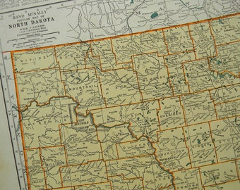 1937 State Map North Dakota - Vintage Antique Map Great for Framing