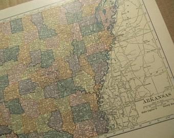 1925 State Map Arkansas - Vintage Antique Map Great for Framing