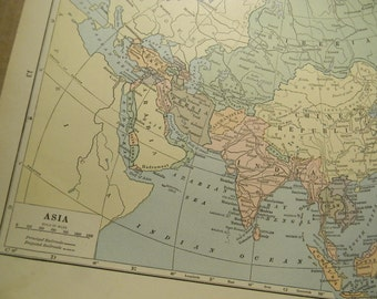 1925 Map Asia - Vintage Antique Map Great for Framing