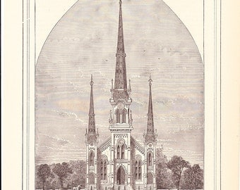 1882 Architecture Church Print - New M'Kendree Methodist Episcopal Church South Nashville Tennessee - Antique Art Illustration 100 Years Old