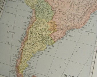 1916 Map South America - Vintage Antique Map Great for Framing