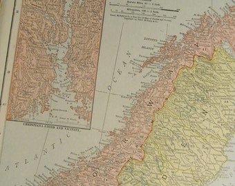 1916 Map Norway and Sweden - Vintage Antique Map Great for Framing