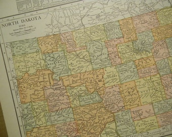 1916 State Map North Dakota - Vintage Antique Map Great for Framing