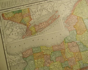 1908 Map New York State - Vintage Antique Map Great for Framing 100 Years Old