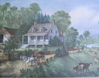 1952 Currier and Ives American Homestead Summer Print - Vintage Americana Folk Art Illustration