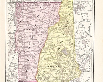 1916 State Map Vermont and New Hampshire - Vintage Antique Map Great for Framing