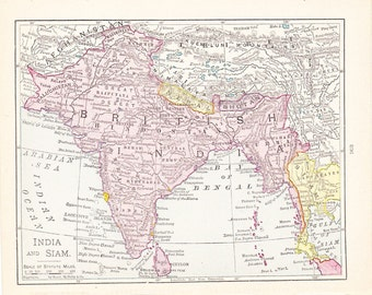 1916 Map India and Siam - Vintage Antique Map Great for Framing