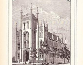 1882 Architecture Church Print - Lawrence Street Methodist Episcopal Church Denver Colorado - Antique Art Illustration 100 Years Old
