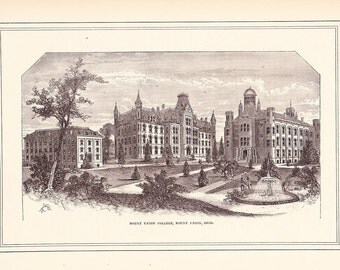 1881 Architectural Print - Mount Union College Ohio - Antique Art Illustration 100 Years Old