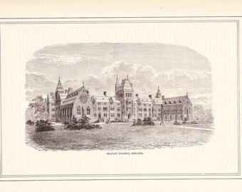 1881 Architectural Print - Belfast College Ireland - Antique Art Illustration 100 Years Old
