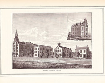 1881 Architectural Print - Central Tennessee College - Antique Art Illustration 100 Years Old
