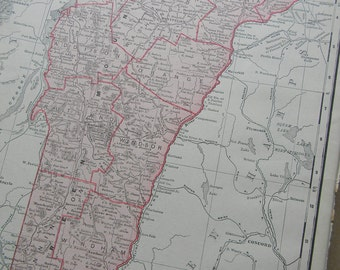 1911 State Map Vermont - Vintage Antique Map Great for Framing 100 Years Old
