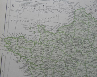 1911 Map France - Vintage Antique Map Great for Framing 100 Years Old