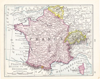 1908 Map France Belgium and Switzerland - Vintage Antique Map Great for Framing