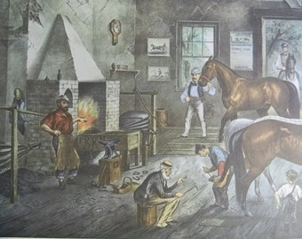 1952 Currier and Ives Horse Stable Print - Vintage Americana Folk Art Illustration