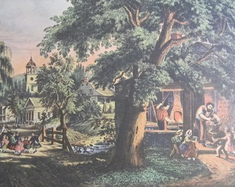 1952 Currier and Ives Village Blacksmith Print - Vintage Americana Folk Art Illustration