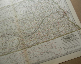 1897 State Map Nebraska - Vintage Antique Map Great for Framing 100 Years Old