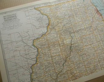 1897 State Map Northern Illinois - Vintage Antique Map Great for Framing 100 Years Old
