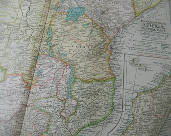 1897 Map Central Africa - Vintage Antique Map Great for Framing 100 Years Old