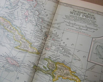 1897 Map West Indies - Vintage Antique Map Great for Framing 100 Years Old