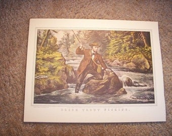 1952 Currier and Ives Brook Trout Fishing Print - Vintage Americana Folk Art Illustration