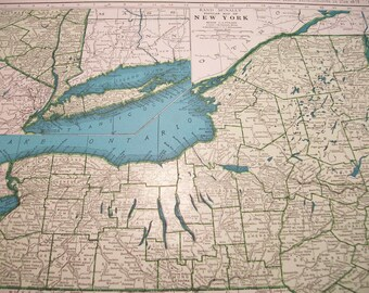 1945 State Map New York - Vintage Antique Map Great for Framing