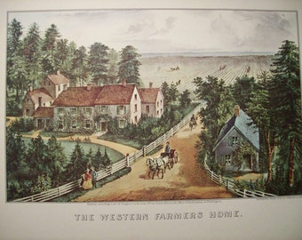 1952 Currier and Ives Country Farm Print - Vintage Americana Folk Art Illustration