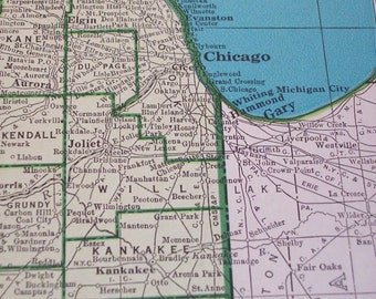 1947 State Map Illinois - Vintage Antique Map Great for Framing IL