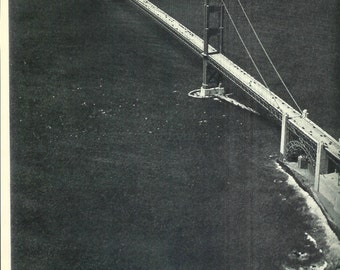 1940s Vintage Photograph - Golden Gate Bridge - Wonderful 40s Vintage Book Art Photograph Great Vintage Print for Cottage or Cabin