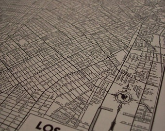 1942 City Map Los Angeles California - Vintage Antique Map Great for Framing