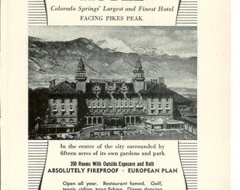 1950s Hotel Advertisement - Antlers Hotel Colorado Springs - Vintage Antique Retro 50s Era Pop Art Ad for Framing 50 Years Old
