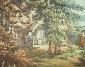 1952 Currier and Ives Home of Evangeline Print - Vintage Americana Folk Art Illustration